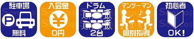 大分のドラム教室 ソニコドラム教室の特徴
